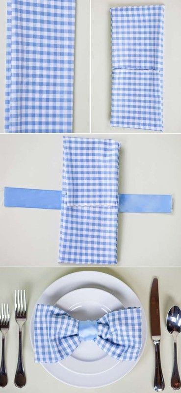 pliage de serviette forme noeud papillon