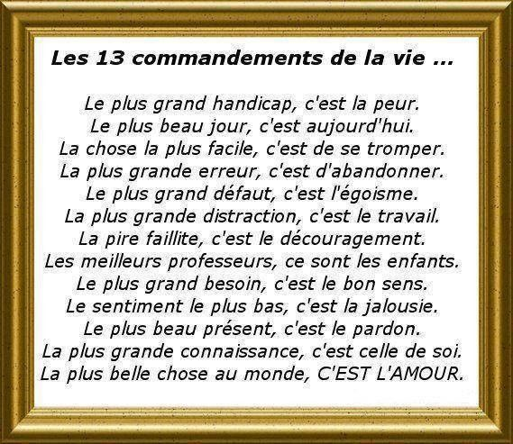 les 13 commandements de la vie